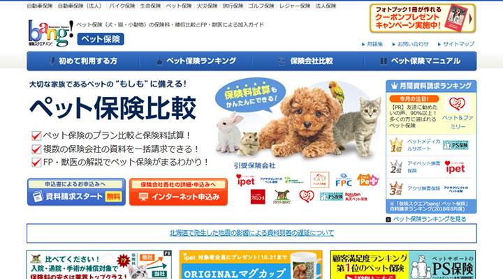 保険スクエアbang! ペット保険 サイト画像